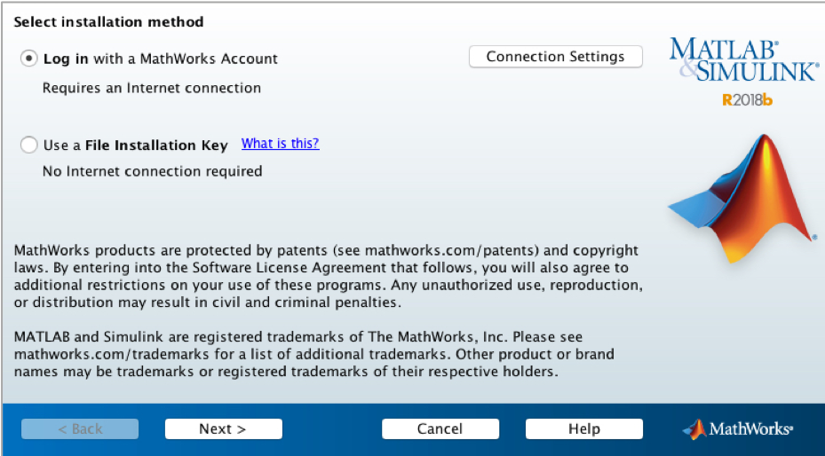 view of installation method dialog box using Mathworks account or File Installation Key if you have no internet connection.