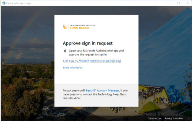 Approve sign in request page