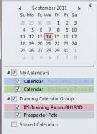 Calendar navigation pane