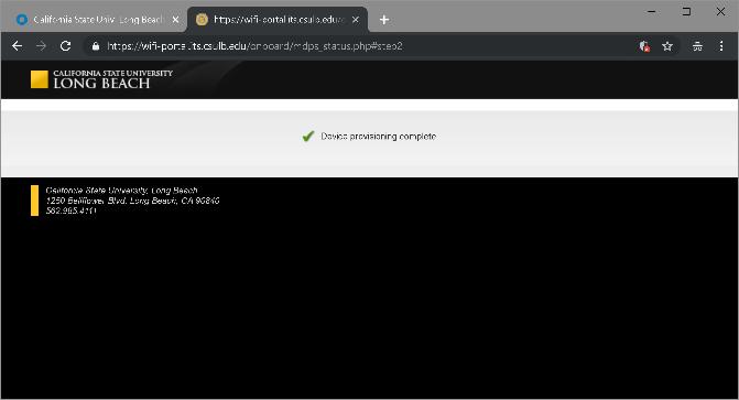 Device provision complete window