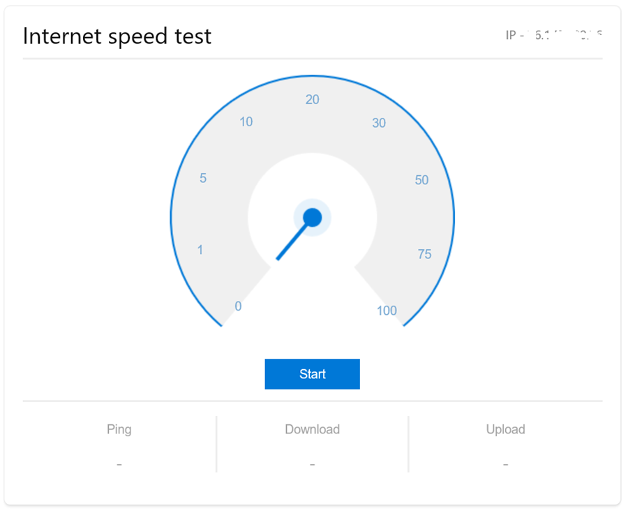 Internet speed test on Bing