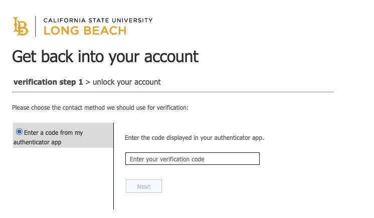 Window asking to enter verification code