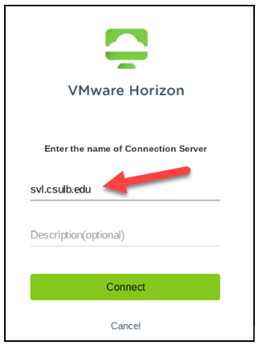 VMware Horizon client configuration screen