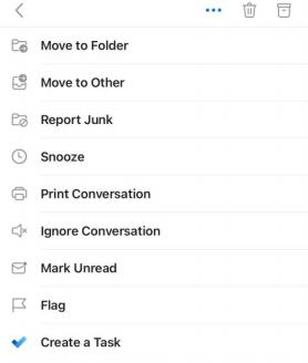 Outlook mobile dropdown action menu