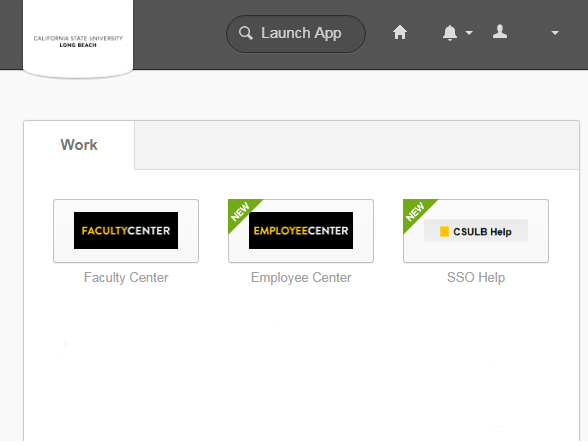 Screenshot of Single Sign On page after logging in and showing the Faculty/Employee Center Chicklet Tab