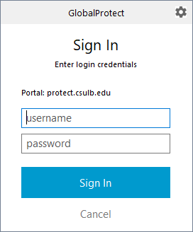 Global Protect Sign in credentials