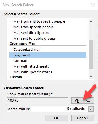 New Search Folder options