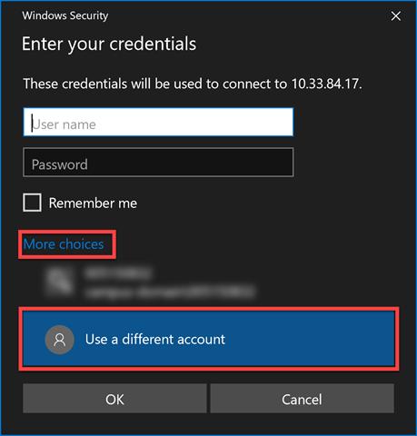 Windows dialogue box for entering your credentials