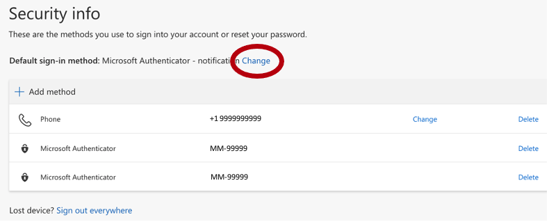 Security info pop-up with the methods to sign into one's account