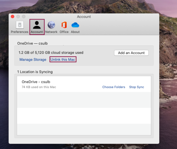 Showing the Account tab and option to select Unlink this Mac
