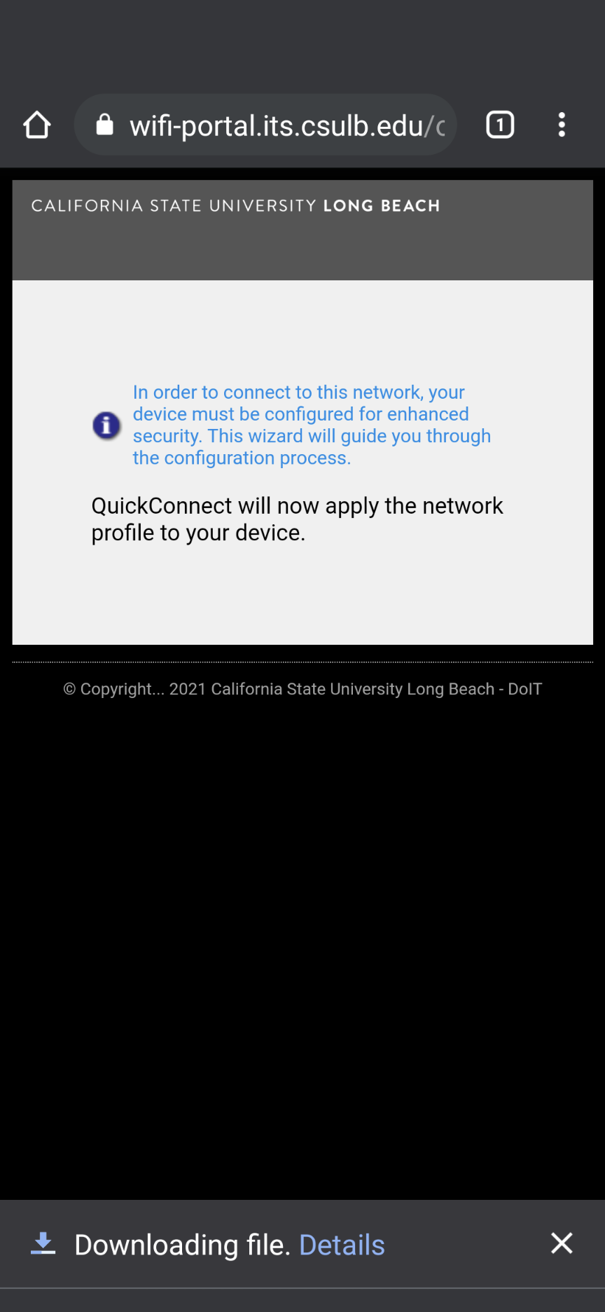 quick connect downloading file page