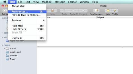MacMail, Mail Menu, Preferences