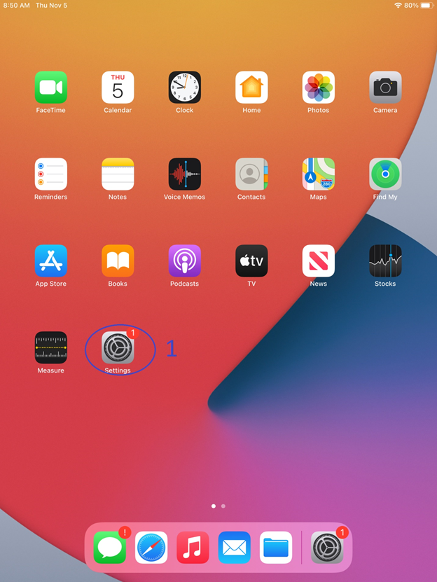 iOS device home screen showing settings icon selected