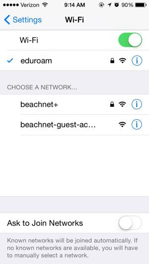 iPhone Wifi Options Screen