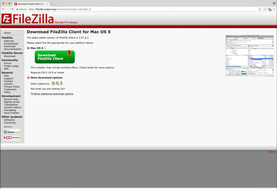 FileZilla Download page