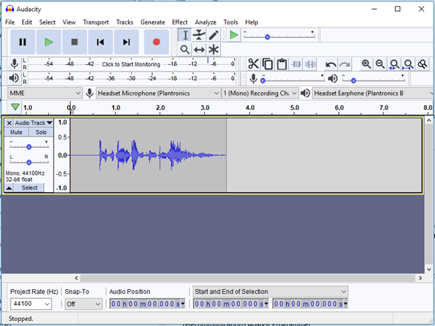 Audacity player and recorder interface
