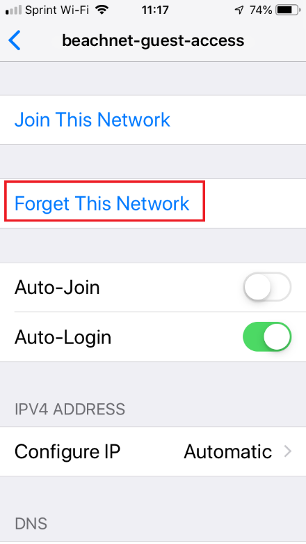 Forget This Network window from WiFi