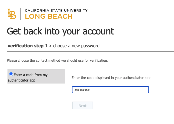 Password service window asking for verification code
