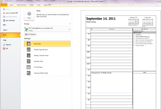Outlook calendar printing options