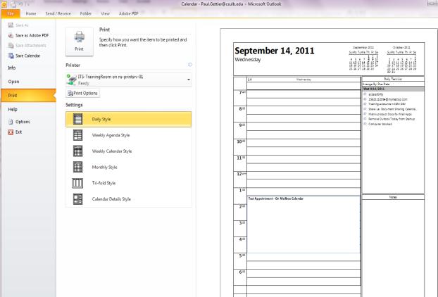 Outlook calendar printing options