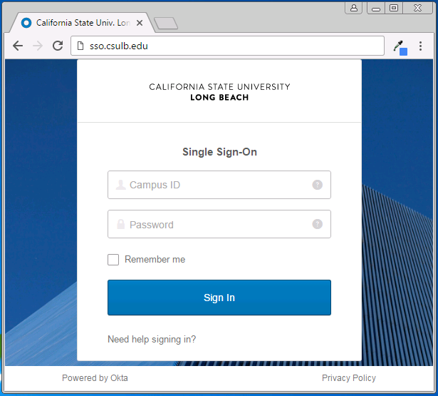Screenshot of Single Sign-On Login Page