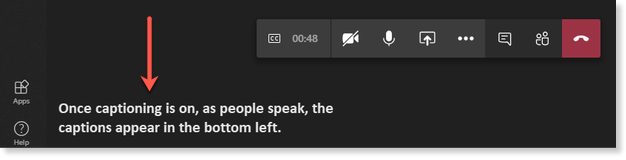 view of live captions appearing in bottom left side of screen