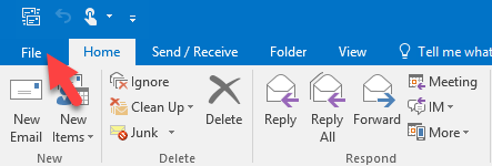 File option in Outlook client