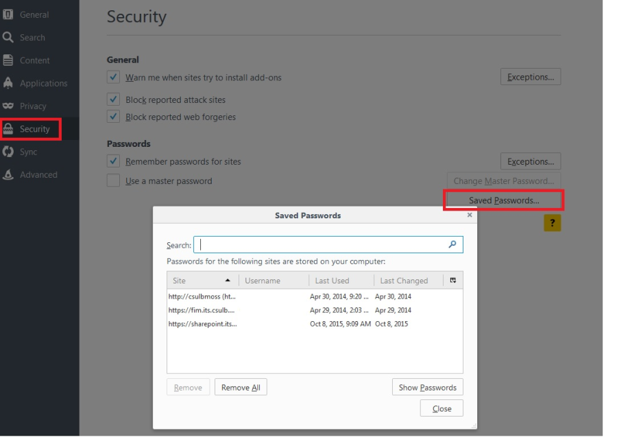 Firefox Security settings for saved passwords