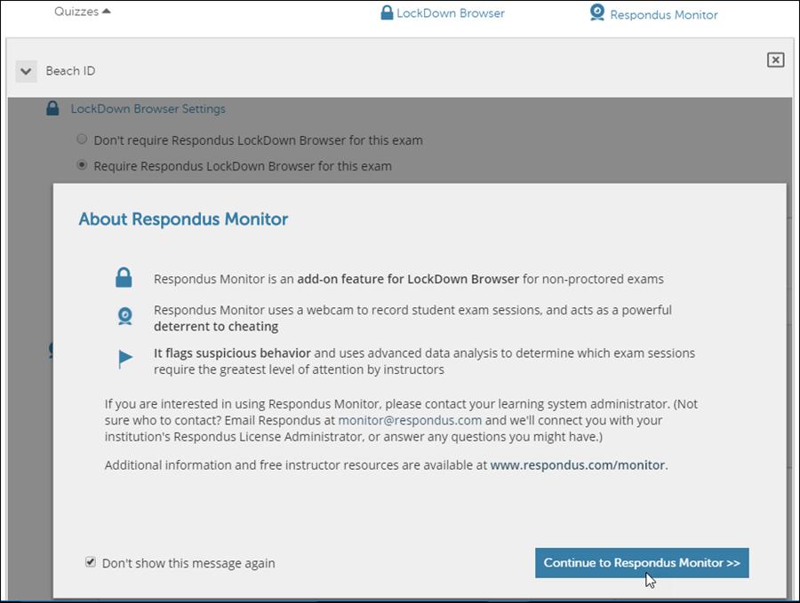 About Respondus Monitor Notification
