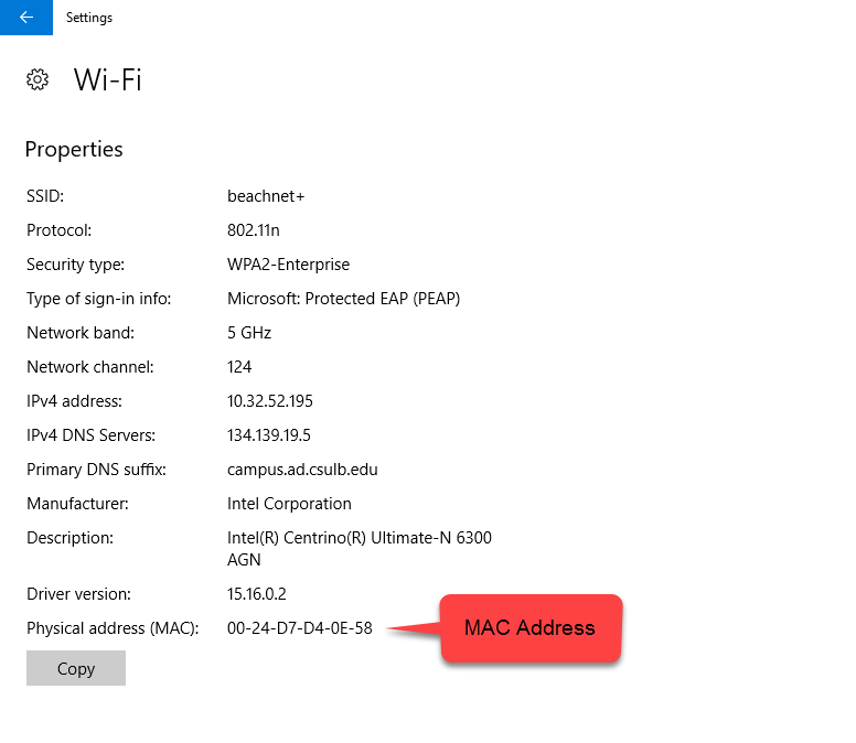 Windows 10 Wi-Fi Hardware Properties with Physical Address call out