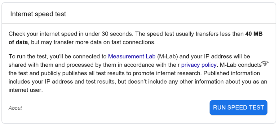 Internet spped test results on Google