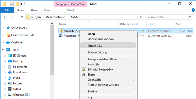Windows File Explorer window showing the Extract All option