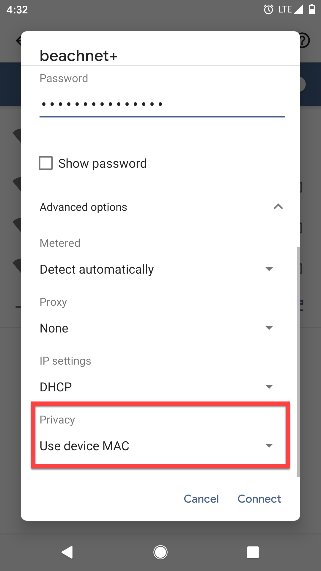 Privacy Setting Switched to Use device MAC