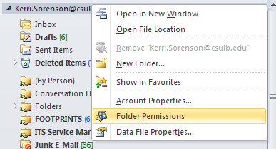 Right click menu with Folder Permissions highlighted