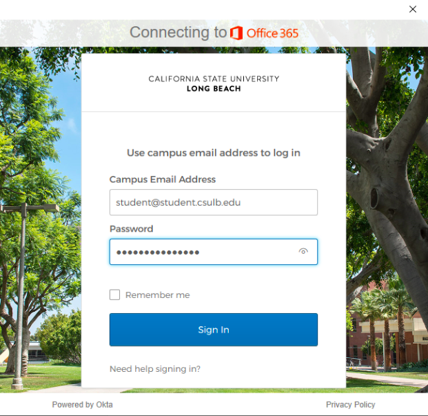 CSULB Single Sign-On Login page