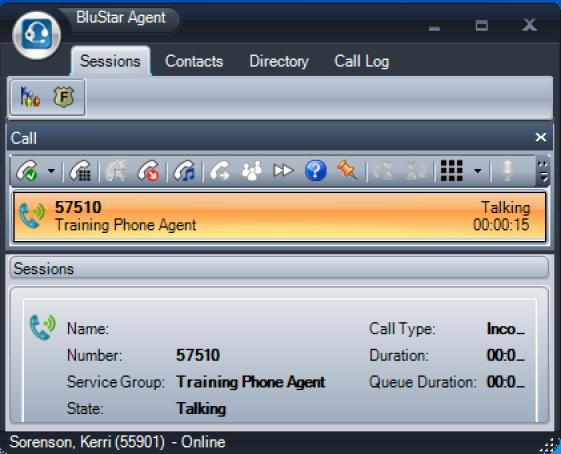 BluStar on call screen