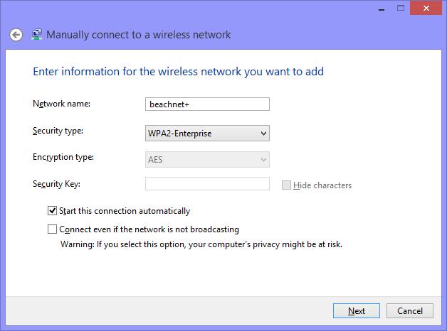 Enter network information