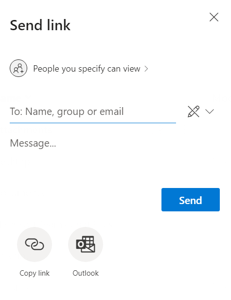 send link window asking for name, group, or email