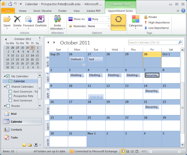 Calender view, with newly imported items