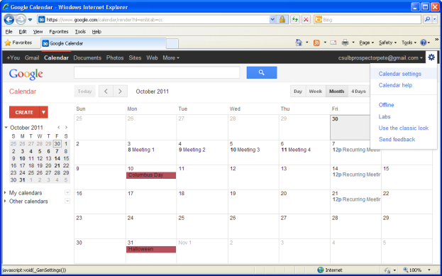Google calendar, click settings