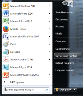 Options from start menu, which may vary by user