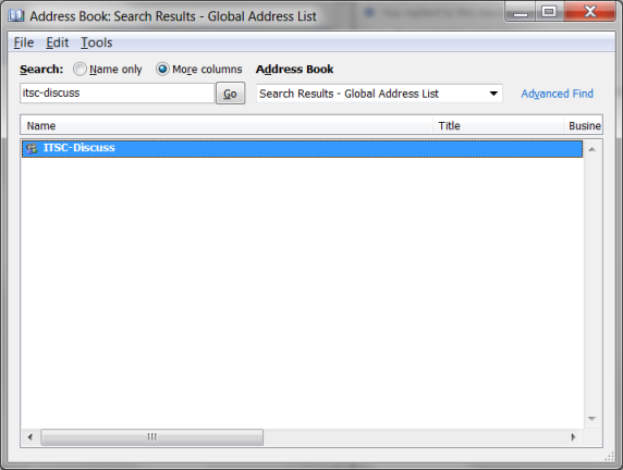Address Book Search Results window