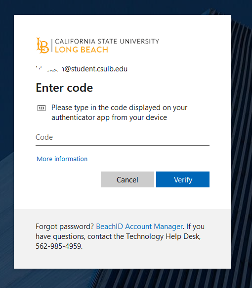 Dialogue box indicate the need to Enter code