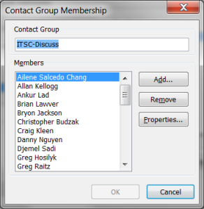 Contact Group Membership window