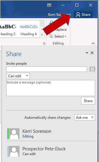 Share settings in Microsoft word