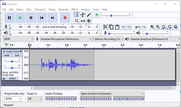 Audacity player and recorder interface showing Project Rate setting