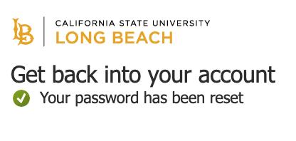 Your password has been reset window