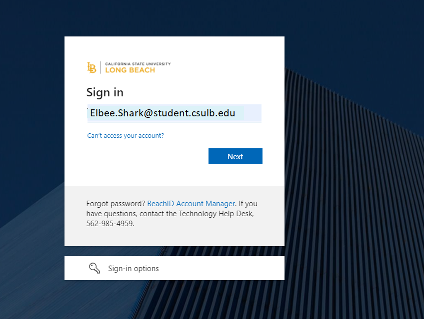 CSULB My Apps login screen