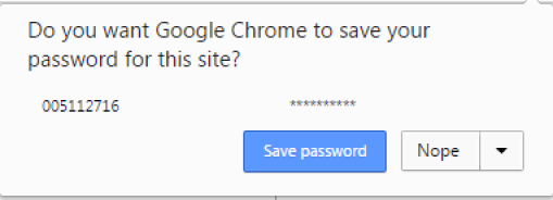 Save password pop-up message