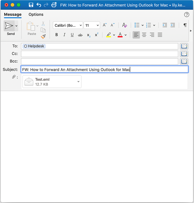 screenshot of sample of new email message with attachment
